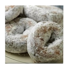 A plate of sugar donuts Tile Coaster