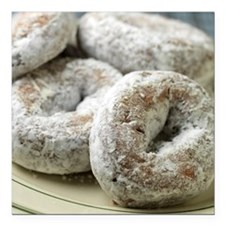 """A plate of sugar donuts Square Car Magnet 3"""" x 3"""""""