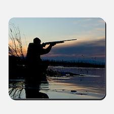 Man duck hunting at dawn Mousepad
