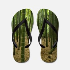 Ancient bamboo grove with stone lantern Flip Flops