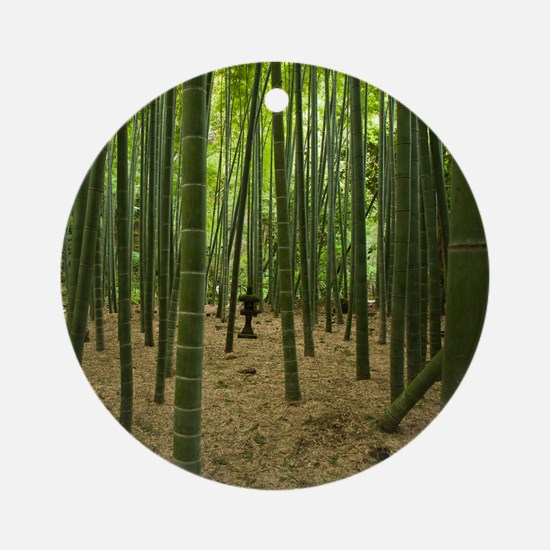Ancient bamboo grove with stone lan Round Ornament