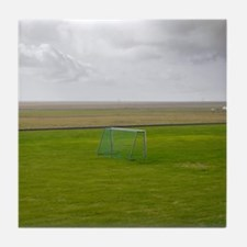 Soccer Goal in an empty field Tile Coaster