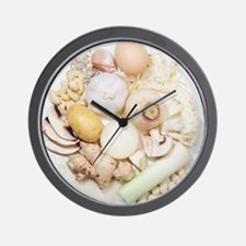 A selection of white fruits Wall Clock