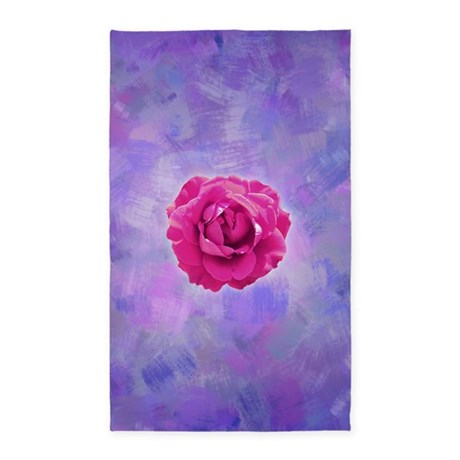 Cerise rose on pink and purple canv 3'x5' Area Rug