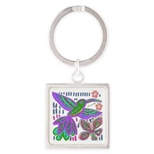 CRAZY ABOUT HUMMINGBIRDS Square Keychain