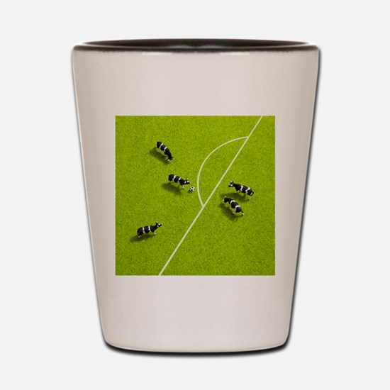 The cows playing soccer Shot Glass