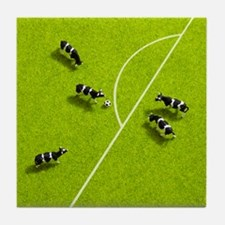 The cows playing soccer Tile Coaster