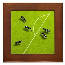 The cows playing soccer Framed Tile