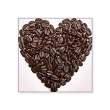 """A heart made of coffee bean Square Sticker 3"""" x 3"""""""