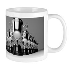 A series of silver trophy cups in a row Mug