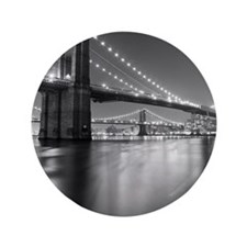 "Brooklyn Bridge and Manhattan Bridge a 3.5"" Button"