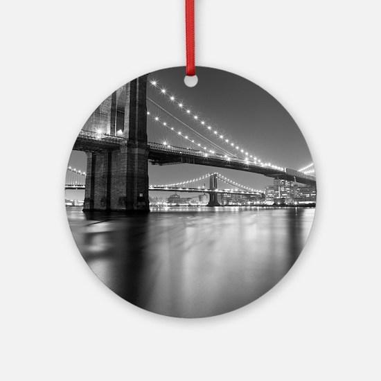 Brooklyn Bridge and Manhattan Bridg Round Ornament