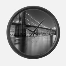 Brooklyn Bridge and Manhattan Bri Large Wall Clock