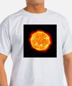 The Sun showing solar flares against T-Shirt