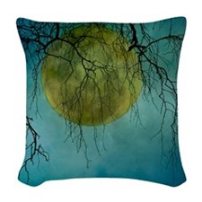 A huge full moon behind bare w Woven Throw Pillow