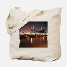 Battersea Power Station at night with lig Tote Bag