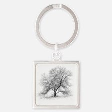 A black and white image of an old  Square Keychain