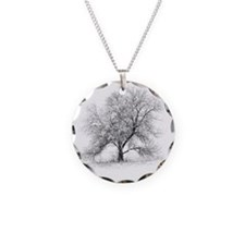 A black and white image of a Necklace