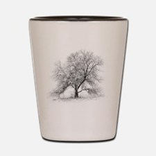A black and white image of an old Black Shot Glass