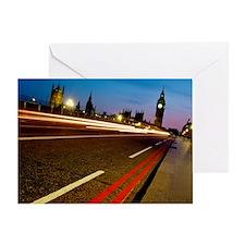 Car headlights crossing Westminster  Greeting Card