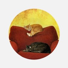 "Cats sleeping on sofa. 3.5"" Button"
