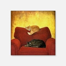 "Cats sleeping on sofa. Square Sticker 3"" x 3"""