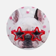 Bulldog with star glasses, white an Round Ornament