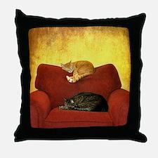 Cats sleeping on sofa. Throw Pillow