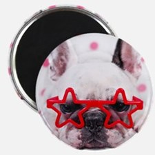 Bulldog with star glasses, white and pink. Magnet