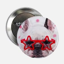"""Bulldog with star glasses, white and  2.25"""" Button"""