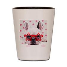 Bulldog with star glasses, white and pi Shot Glass