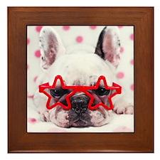 Bulldog with star glasses, white and p Framed Tile