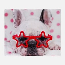 Bulldog with star glasses, white and Throw Blanket