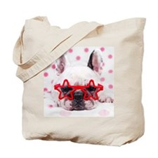 Bulldog with star glasses, white and pink Tote Bag