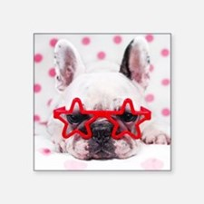 "Bulldog with star glasses,  Square Sticker 3"" x 3"""