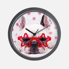 Bulldog with star glasses, white and pi Wall Clock