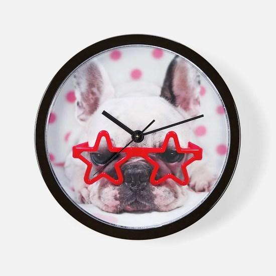 Bulldog with star glasses, white and pi Wall Clock