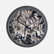 A satellite view of a mountain range Wall Clock