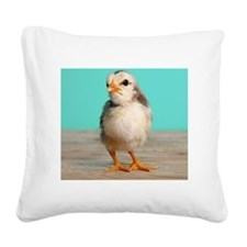 Chick on wood Square Canvas Pillow