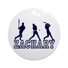 Baseball Zachary Personalized Ornament (Round)
