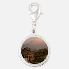 Aerial view of the Great Wall  Silver Round Charm