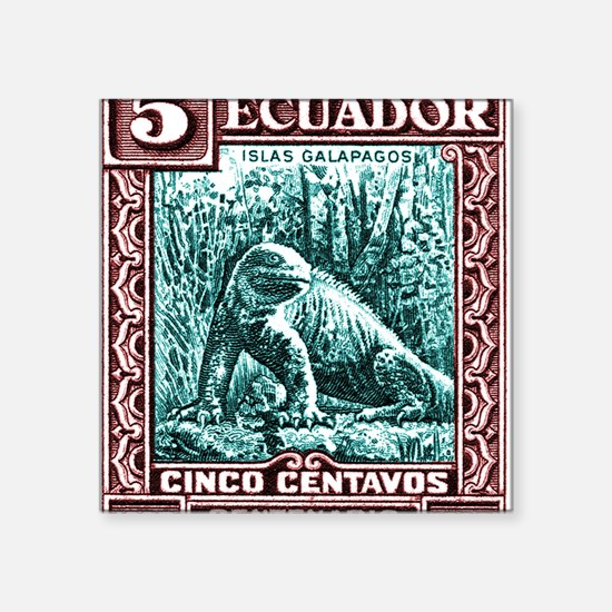 "1936 Ecuador Galapagos Land Square Sticker 3"" x 3"""