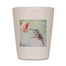 Close up of hummingbird in-flight and p Shot Glass