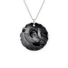 Black and white image of ram Necklace