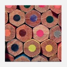 Colored pencils. Tile Coaster