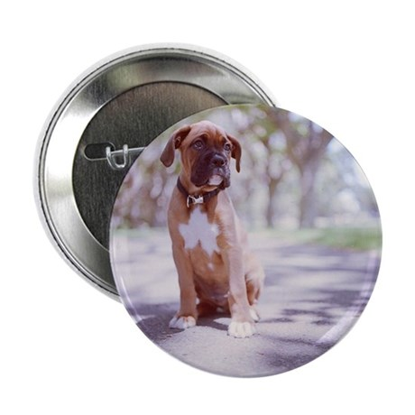"""Boxer puppy with little maple leaf sh 2.25"""" Button"""