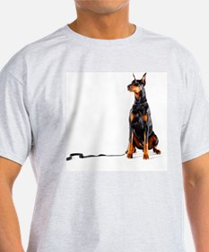 Doberman with leash on white backgro T-Shirt