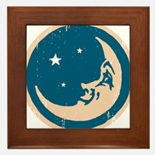 Crescent shaped moon with a face Framed Tile