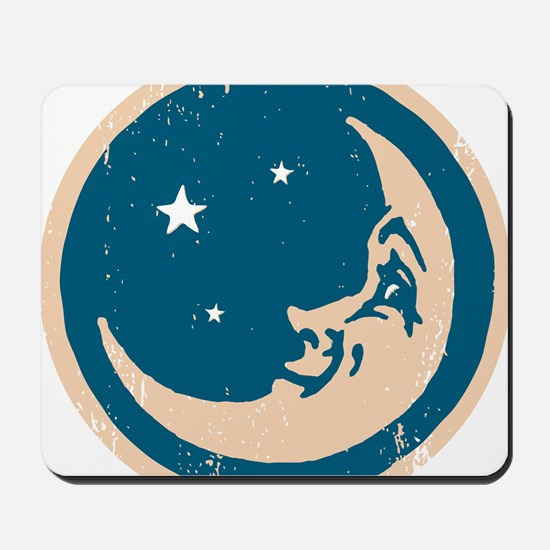 Crescent shaped moon with a face Mousepad
