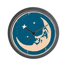 Crescent shaped moon with a face Wall Clock